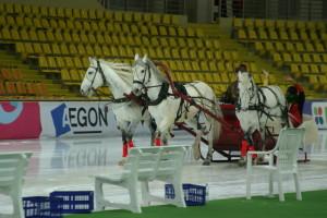 Тройка лошадей с чемпионами бежит по льду