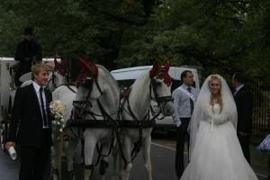 Свадебная карета и конный кортеж