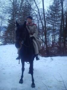 Всадник в костюме и лошадь